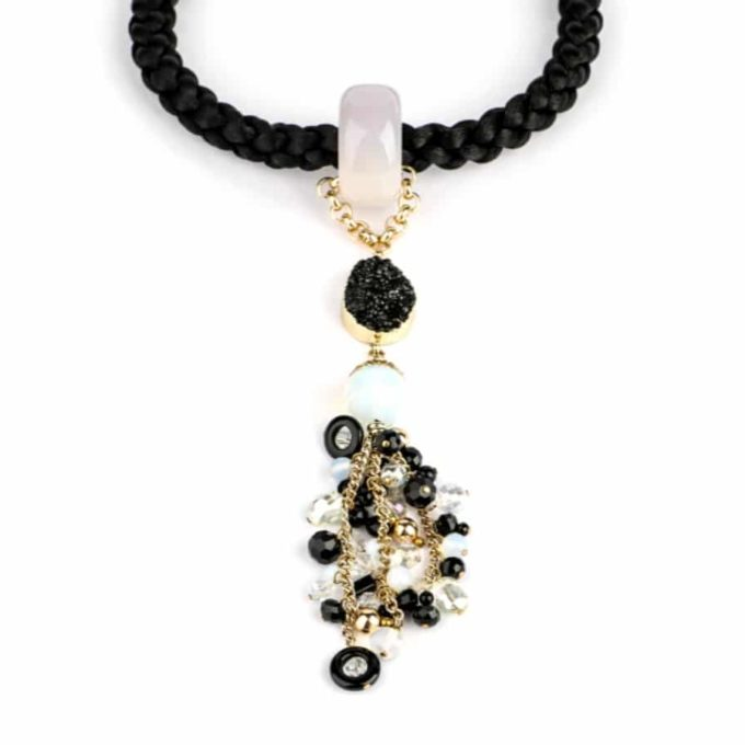 Collier de la collection Africana Blanc et noir pour femme