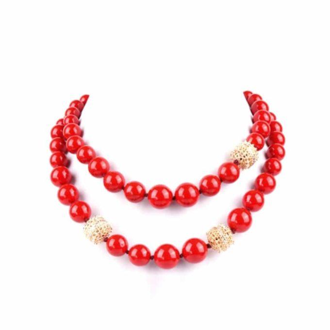 Collier Romancia pour femme couleur Rouge , bijoueterie en ligne tunisie