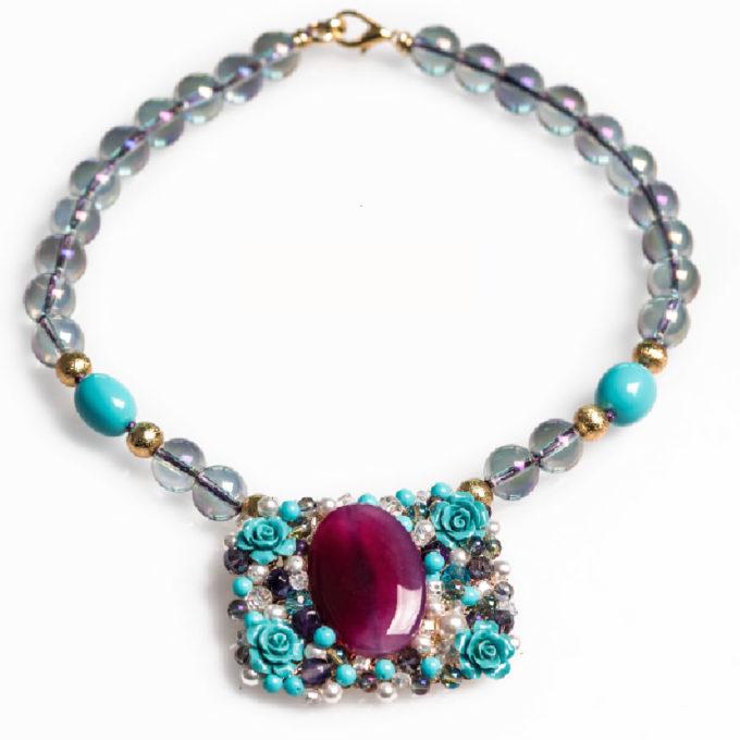 Collection Dahlia Collier pour femme chich bleu Mauve