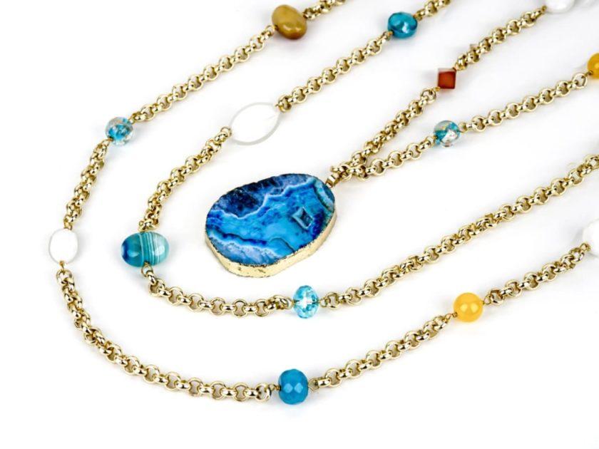Collier femme agate bleu
