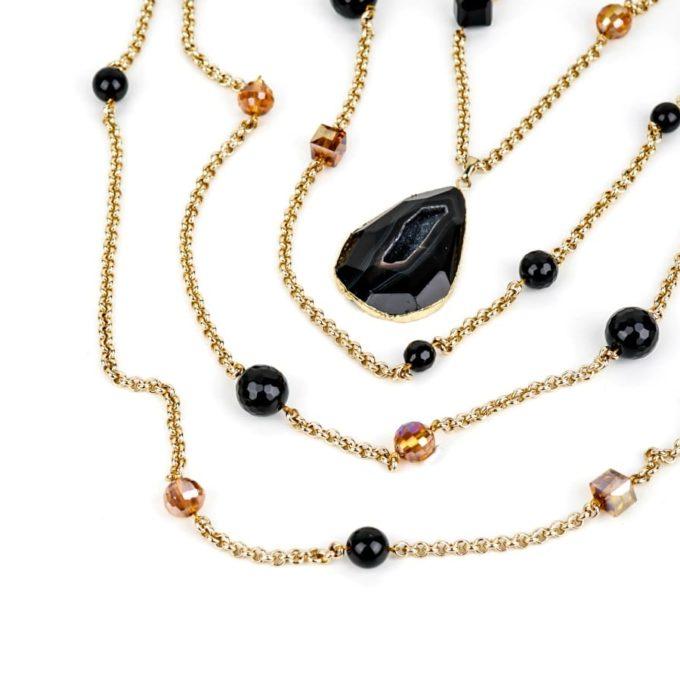 Collier femme Noir Agate