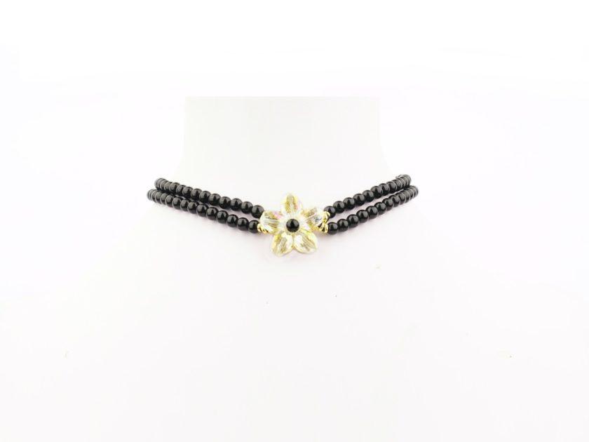 Collier Floria Noir et fleur