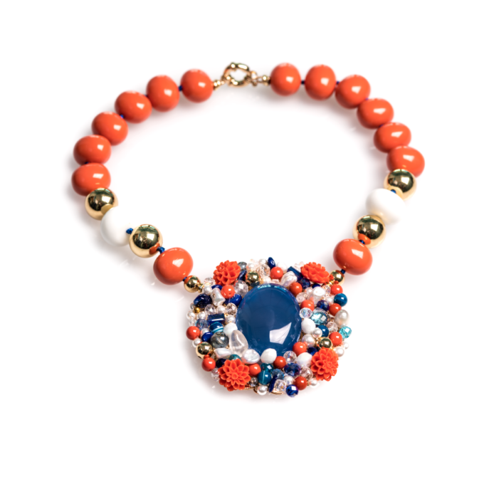 Collier Dahlia Bleu et Orange