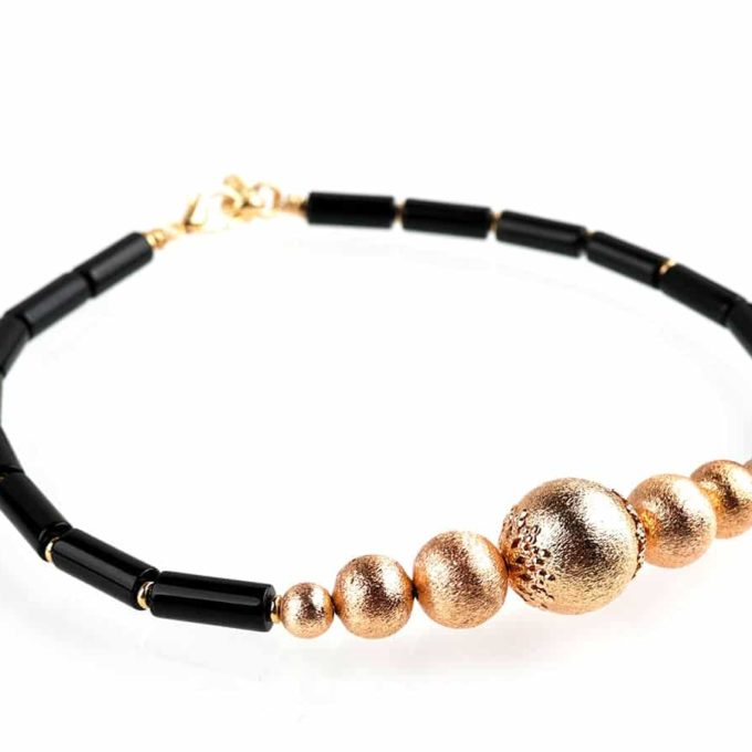 Bracelet Romancia plaqué or pour femme et couleur noir