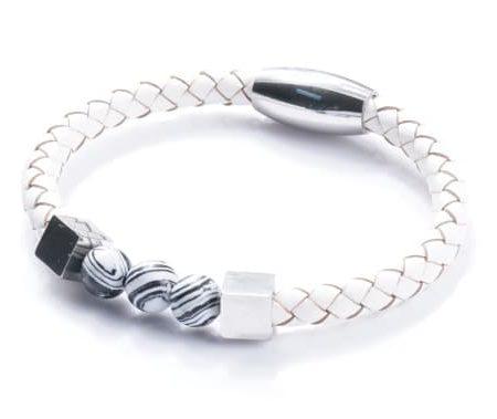 Bracelet HOMME EN CUIR BLANC TRESSÉ AVEC FERMOIR MAGNÉTIQUE