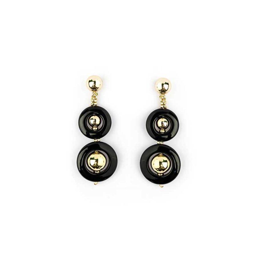 collier cercle onyx et boule doré bijoux en tunisie