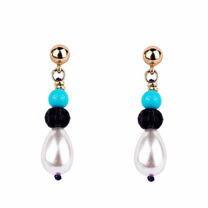 boucles d'oreilles perle pierres précieuses