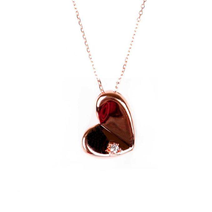 Collier coeur incliné bijoux pour femme tunisie