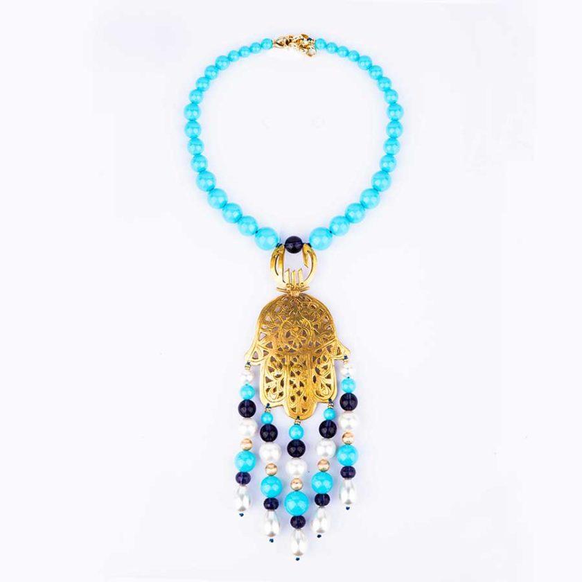 collier khomssa main de fatima authentique en argent turquoise perle et améthyste