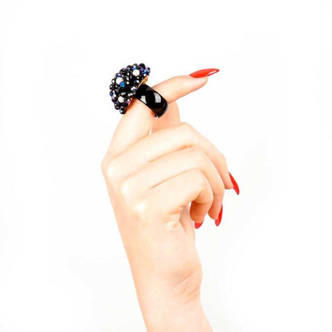 bague sofia noir et perle cadeau en tunisie pour femme