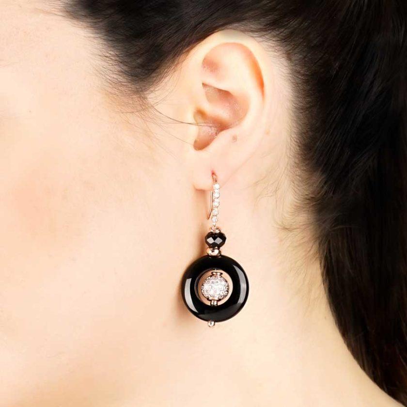 boucles d'oreilles pour femme yara onyx cercle pour femme en tunisie bijoux