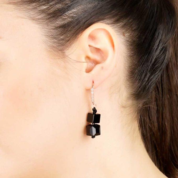 boucles d'oreilles onyx cube rose bijoux tunisien