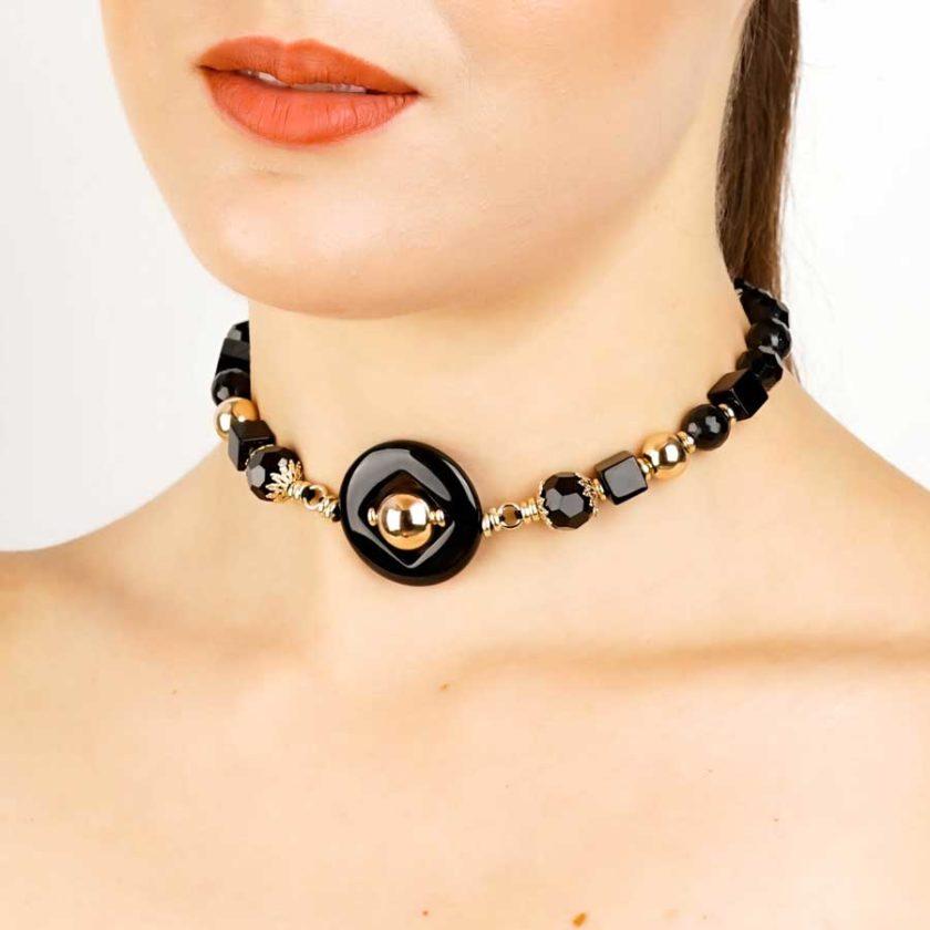 Collier yara bijoux ethniques , onyx pur cadeaux pour femme en tunisie bijoux
