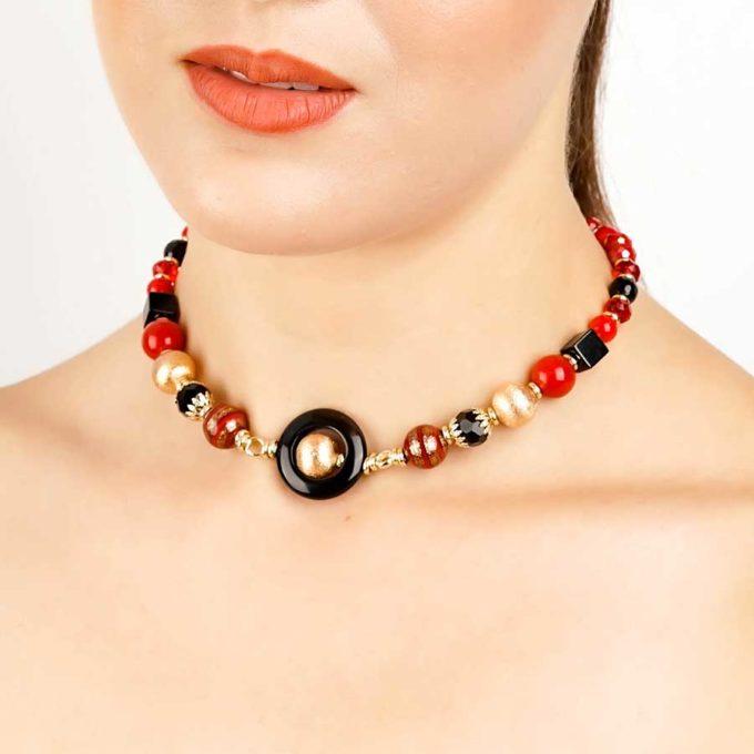 boucles yara agate marron et cercle onyx pour femme en tunisie bijoux