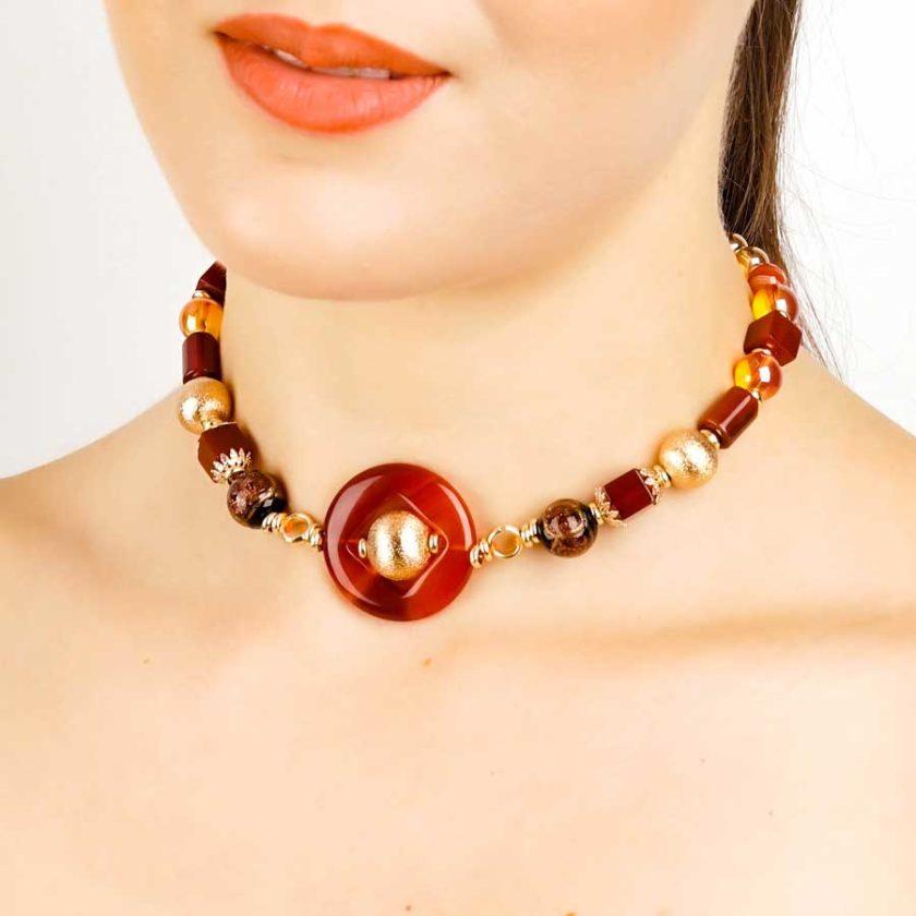boucles yara agate marron pour femme en tunisie bijoux