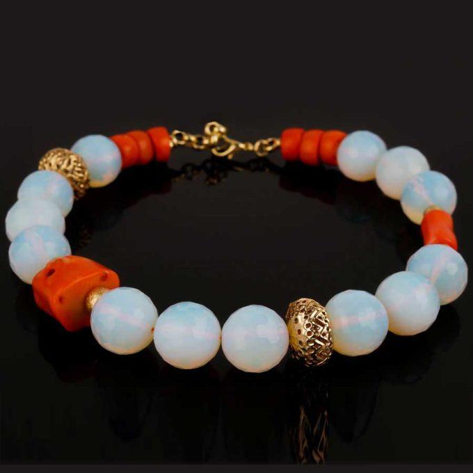 collier corail et pierres de lune bijoux tunisie cadeaux