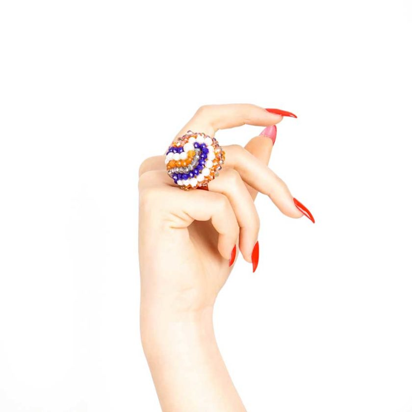 bague sofia bleue marron et perle cadeau en tunisie pour femme