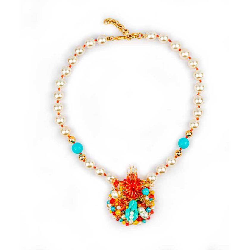 Colliert etoile-de-mere-corail-turquoise