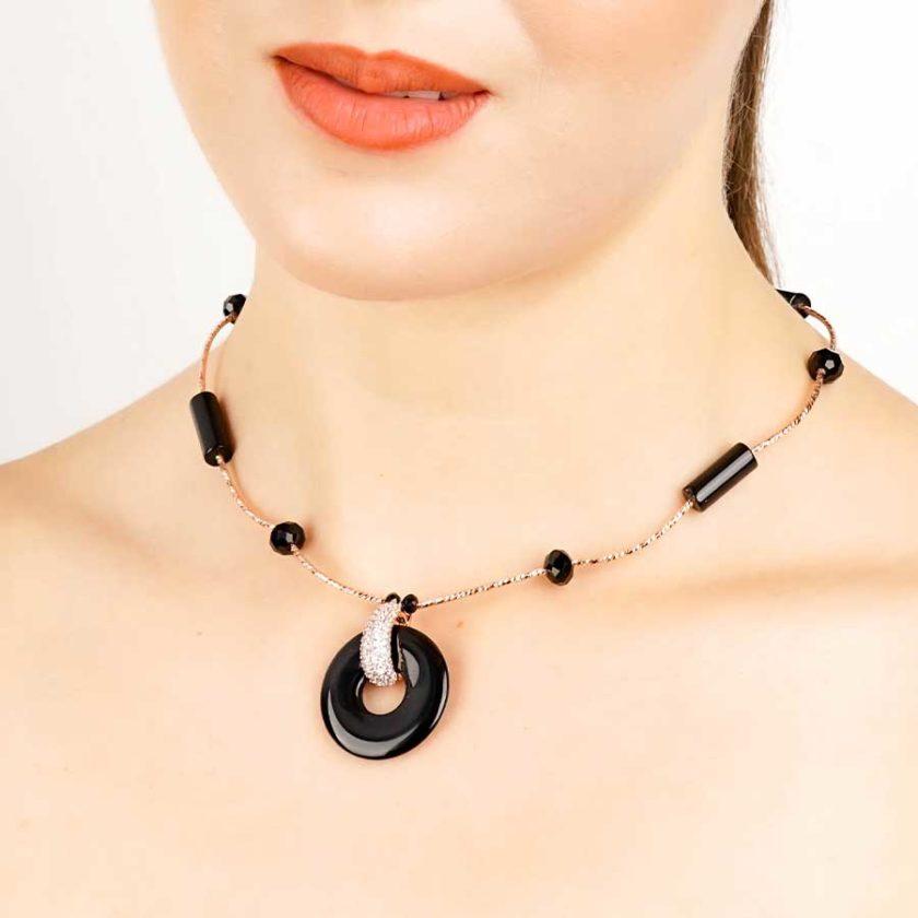 Collier yara onyx rose pour femme en tunisie bijoux
