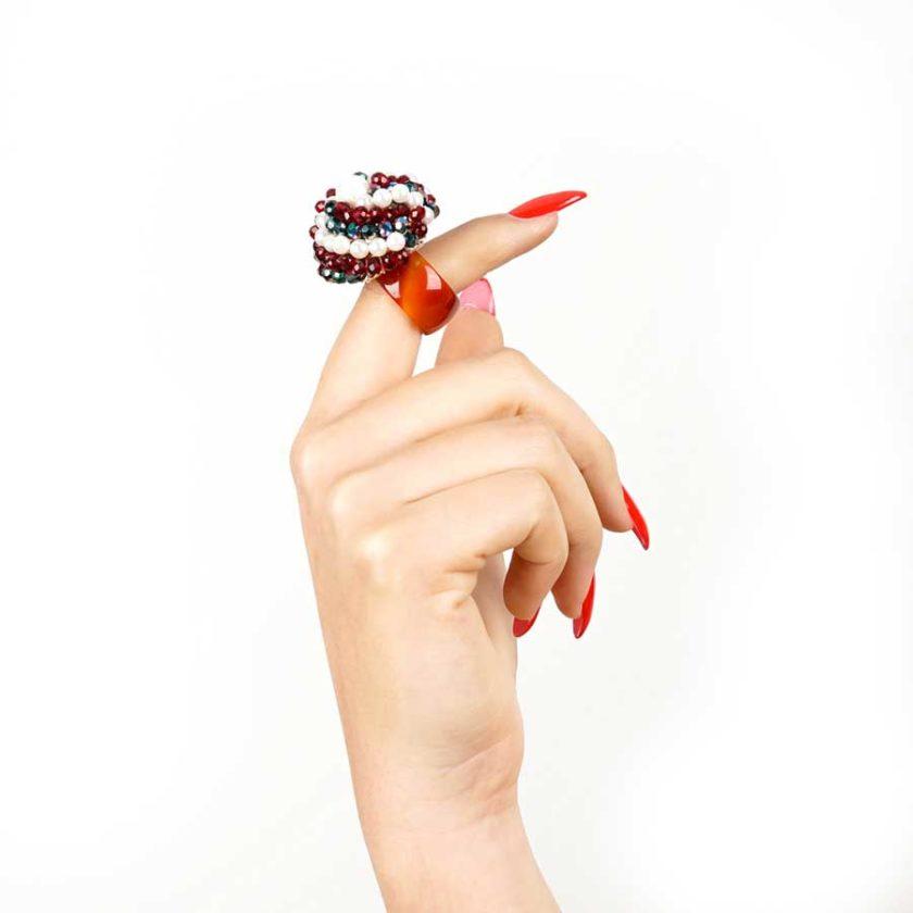 bague sofia en perle et cristal rouge cadeaux pour femme prix