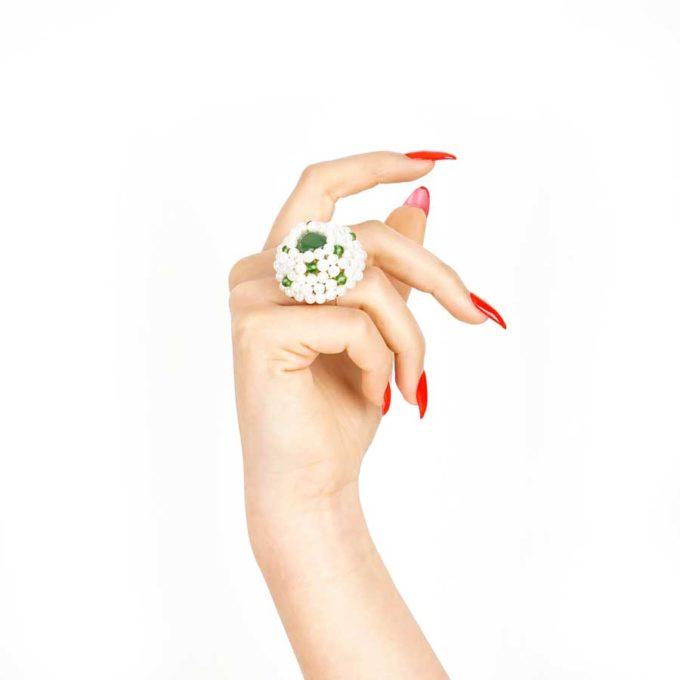 bague sofia en perle et cristal vert et perlecadeaux pour femme prix