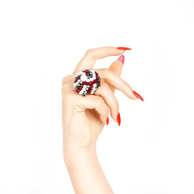 bague sofia en perle et cristal rouge vert cadeaux pour femme prix