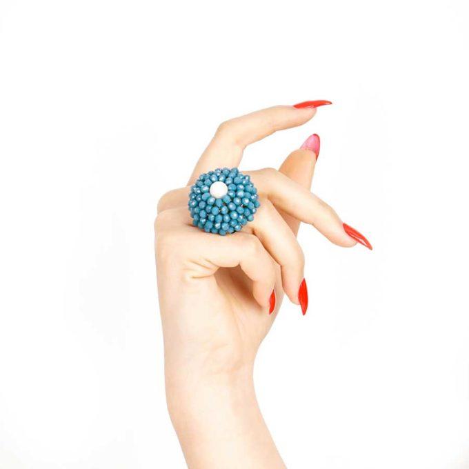 bague sofia en perle et cristal turquoise cadeaux pour femme prix