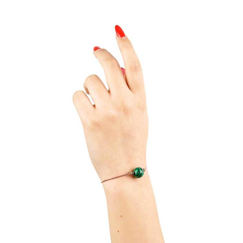 Bracelet intemporelle pour femme en pierre de malachite