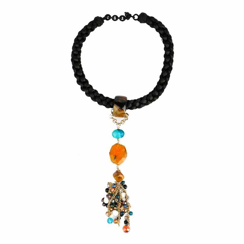collier africana cordon tresse noir avec des pierres d'agates miel