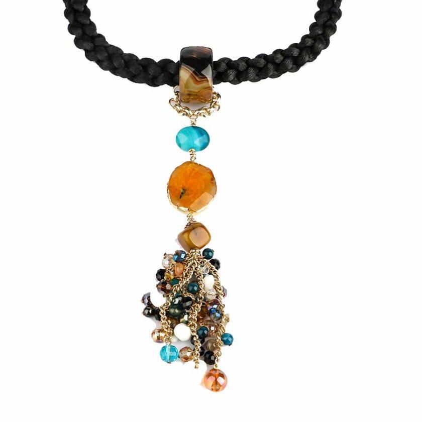 collier africana cordon tresse avec des pierres d'agate miel