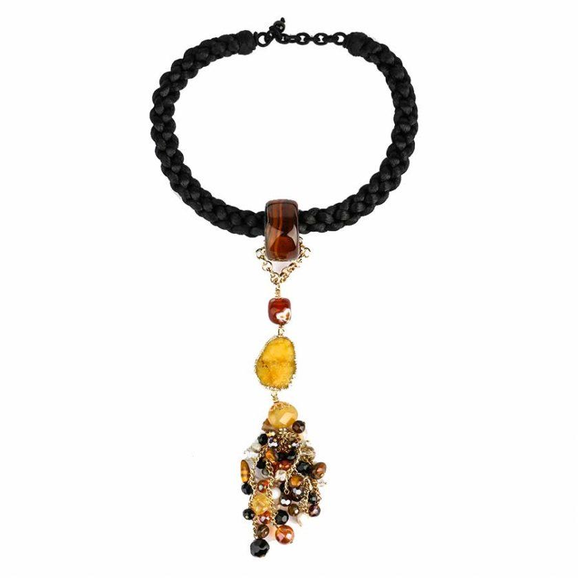 collier africana cordon tresse eavec des pierres d'agates jaune