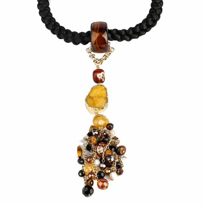 collier africana cordon tresse eavec des pierres d'agates