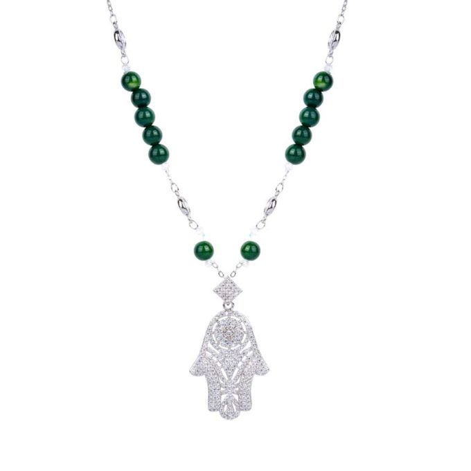 Collier avec khomssa en argent traditionel aet pierre de malachites