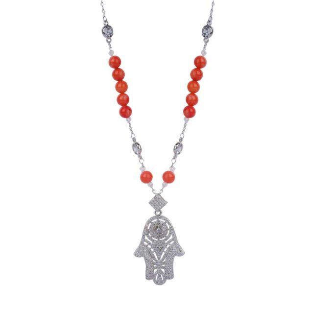 Collier avec khomssa en argent traditionnel avec des pierre rouge