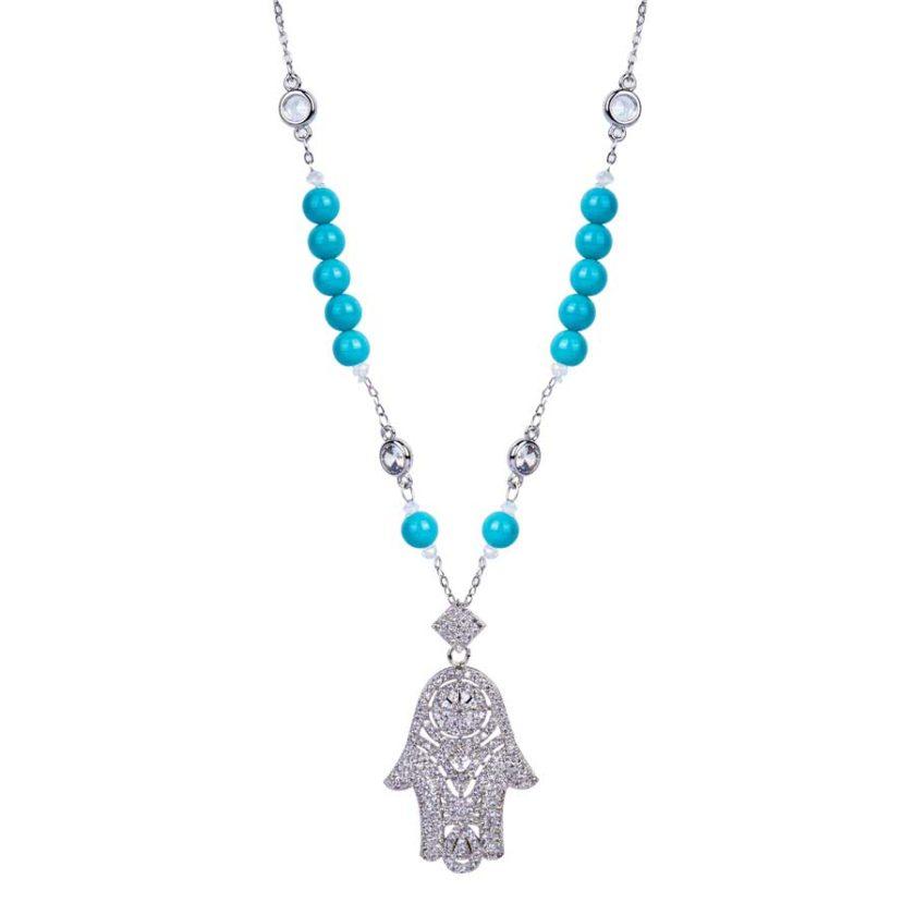 Collier avec khomssa en argent traditionel avec pierres de turquoises